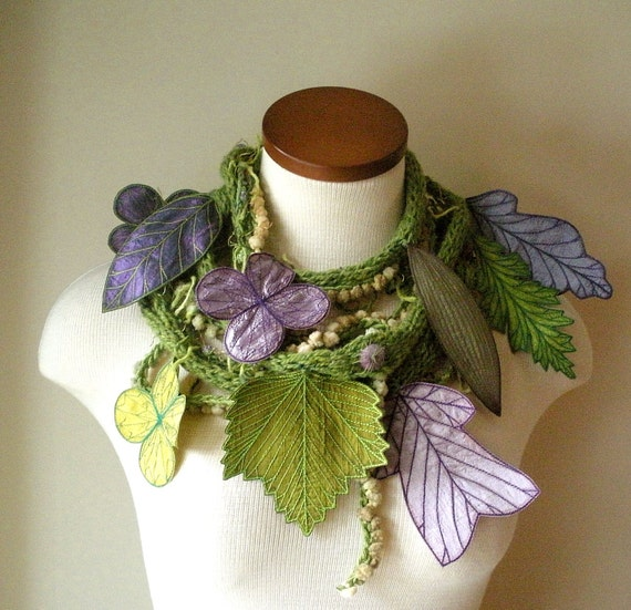 RESERVED- Long and Leafy Scarf with Embroidered leaves- Asparagus Green with Plum and Purple Berries-  Payment no. 3