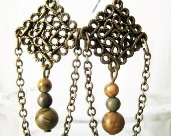 Brass, Stone, and Chain Dangle Beaded Earrings