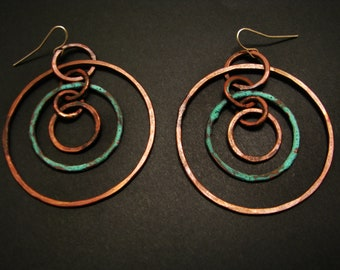 Patina Copper Hoops - Hoop Earrings - Oxidized Copper with one Green Patina Ring - made in Austin, Tx