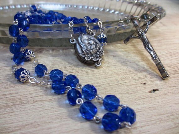 Vintage Rosary with blue glass beads and locket