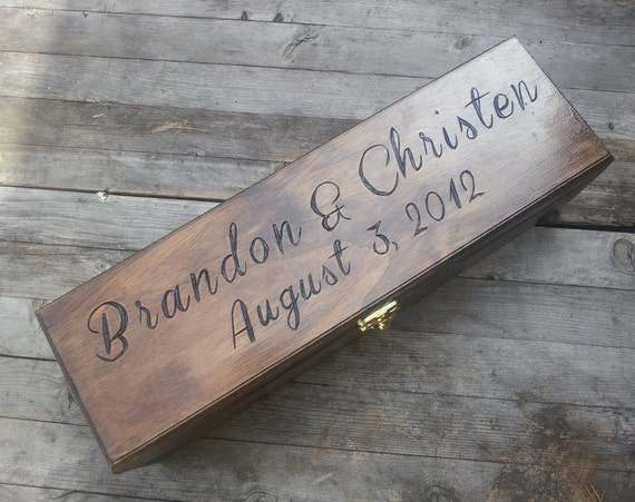 Custom Engraved and Personalized Wedding Wine Box, First Fight Box, Memory Box, Time Capsule for Wedding Day, Anniversary, Special Occasion