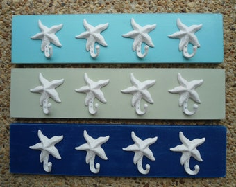 4 starfish outside beach towel rack pool hot tub outdoor shower nautical beach decor cottage renovation BeachHouseDreamsHome OBX Outer Banks