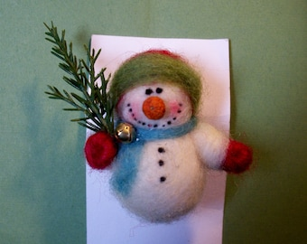Snowman Pin Felted Wool