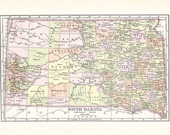 1903 State Map South Dakota - Vintage Antique Map Great for Framing 100 Years Old