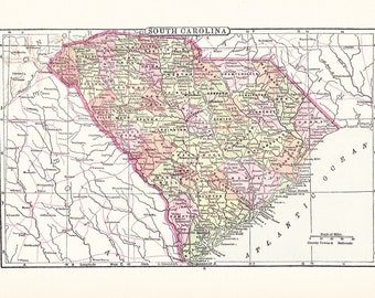1903 State Map South Carolina - Vintage Antique Map Great for Framing 100 Years Old
