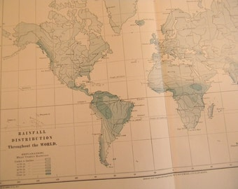 1903 World Map - Distribution of Rainfall - Vintage Antique Map Great for Framing 100 Years Old