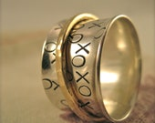 XO Spinner Ring in Sterling Silver and 14k Gold