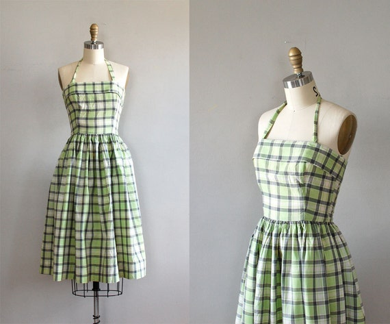 r e s e r v e d...1950s dress / plaid 50s day dress / vintage 50s Good News dress