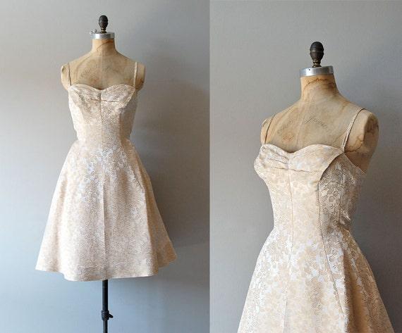1950s dress / party dress / 50s wedding / Lorrie Deb brocade dress