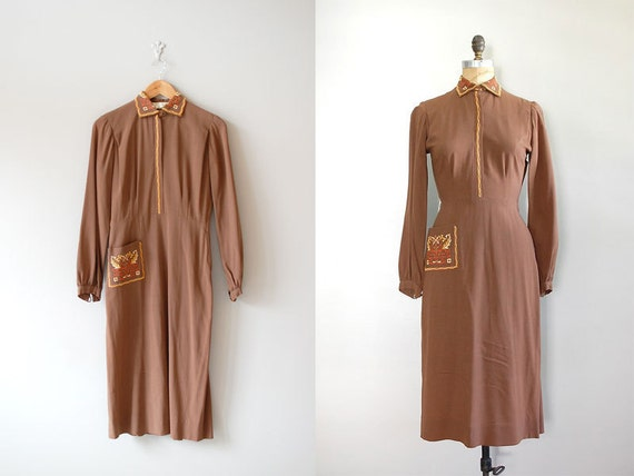 1930s dress / vintage 30s crepe dress / The Victoria Club