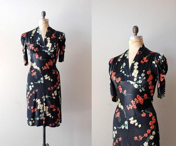 1930s dress / silk 30s dress / Campuya dress