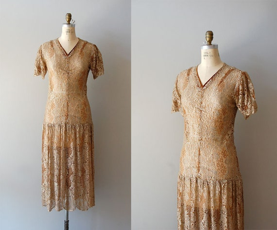 S A L E ...1920s dress / lace 20s dress / Goldspun Lace dress