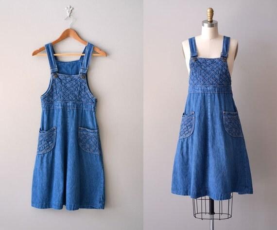1970s denim dress / denim jumper dress / Chrissy dress