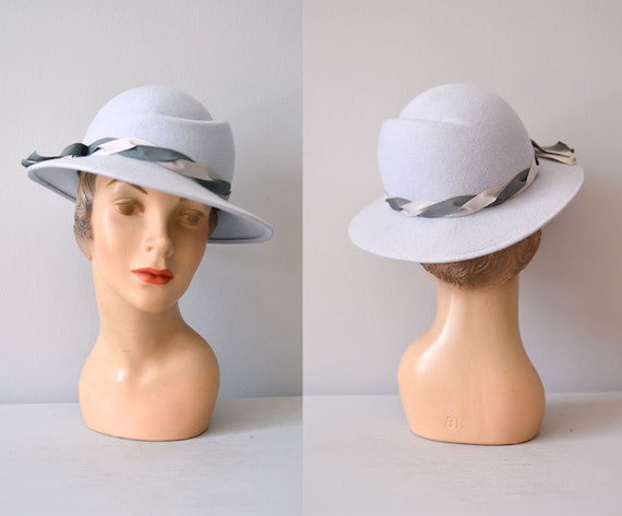 vintage hat / gray wide brim hat / gray wool hat