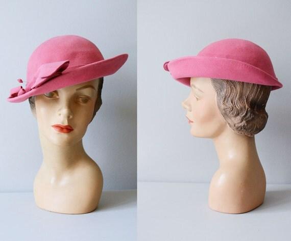 1930s hat / vintage 30s hat / brimmed hat / La Vie En Rose hat