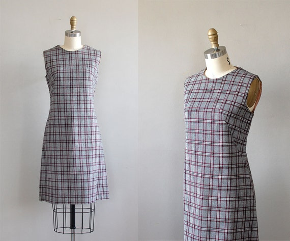 60s shift dress / 1960s dress / By the Book plaid dress
