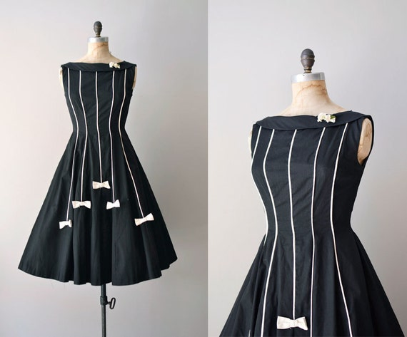 1950s dress / plaid 50s party dress / White Tie dress