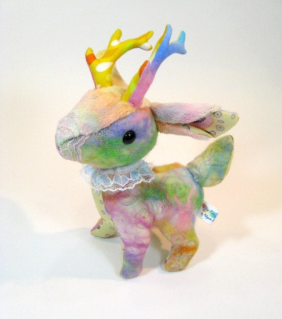 Chibi Deer Artist Plush - 'Circus Buck' - with rainbow freeform stiching