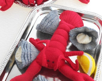 Wool Felt food Clam Bake wet, clambake, playfood seafood set, clams and lobster with lemon
