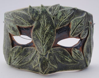 ceramic mask sculpture art clay face decor garden green leaf mask half face
