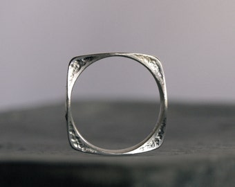 Bold Silver Ring - Sterling Silver Ring Hammered Square Shaped Statement Ring with abstract relief Design MADE TO ORDER