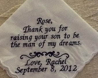 Groom's Mother Personalized Embroidered Handkerchief