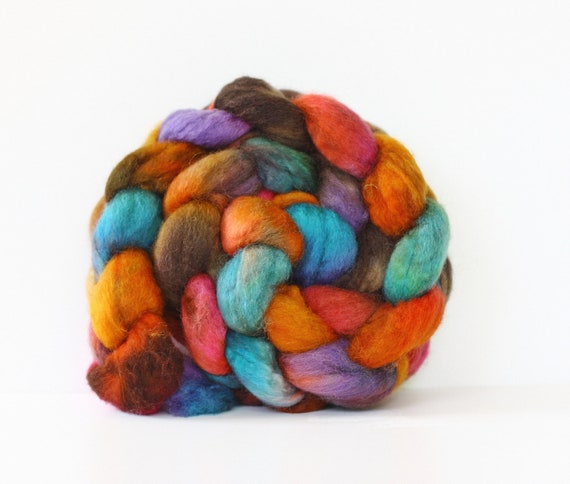 BFL Superwash Roving-Zapotec 4 oz-Handpainted Top/Roving for Spinning or Crafting