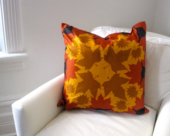 Autumn Leaf Vera Silk Pillow Sham - Luxe Throw Pillow Cover - Decorative Cushion Handmade with Vintage Vera Gold and Rust Leaves