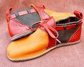 "Handmade Leather Shoes -  ""NO SHOES"" bull hide back,elk front, Vibram Sole Deer Skin trim - Custom Made or  Size 5, 6, 7, 8, 9, 10,11.12"