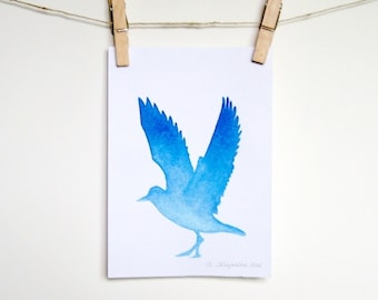 Bird Silhouette Watercolor - Watery Blue Ombre, 5 x 7