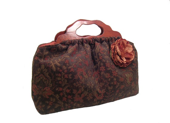 Top Seller The Knitting Bag Brown Floral Chenille Matching Flower Pin