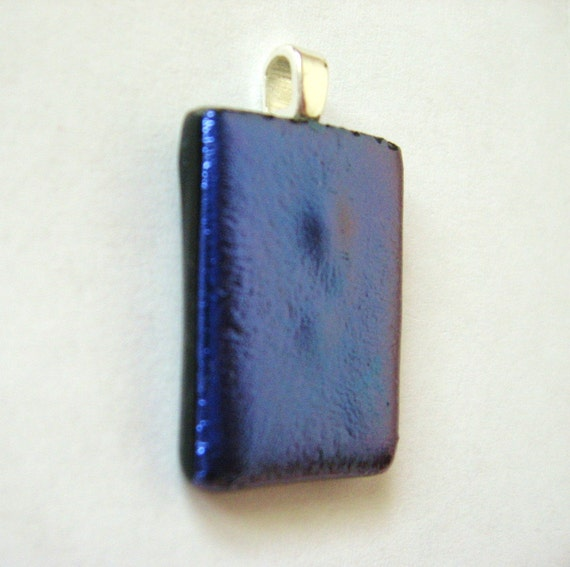 Fused dichroic glass violet pendant purple blue jewelry