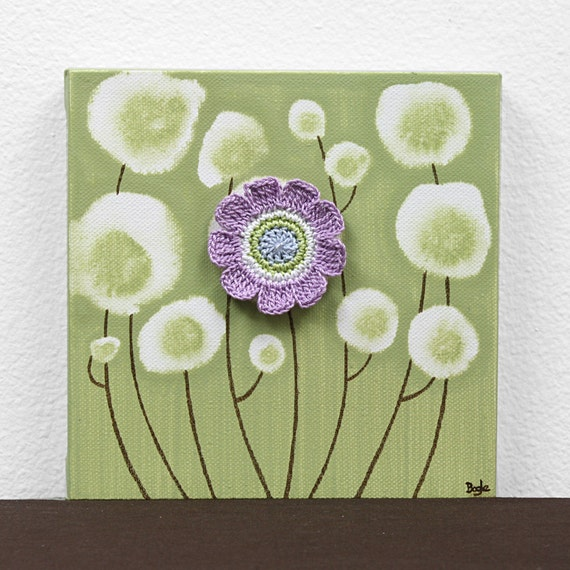 Gift for Little Girl - Flower Painting on Canvas - Green and Purple Artwork - Mini 6x6