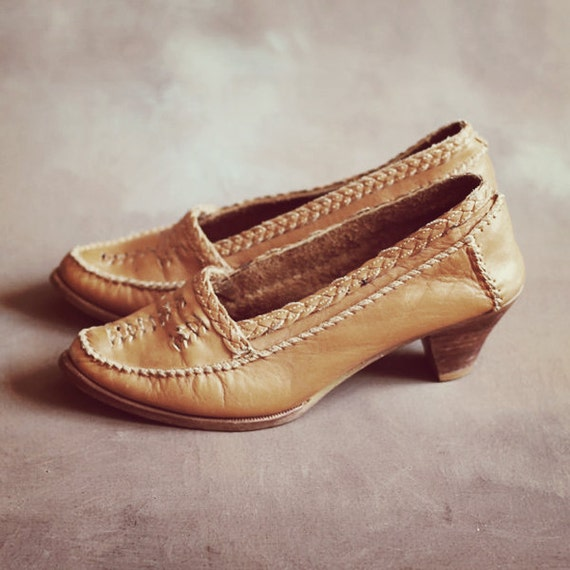 Tan Braided Leather Heels, size 7 - 7 1/2