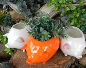 Pig Planter   Ceramic Glazed from a Vintage mold design - White Only