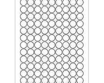 """6 SHEETS - 378 3/4"""" Blank Round Circle WHITE Stickers for Inkjet & Laser Printers. Size: 8-1/2""""x11"""" Standard Sheets"""