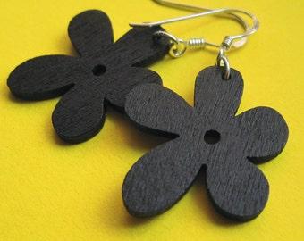 Sterling Silver and Black Wood Flower Earrings