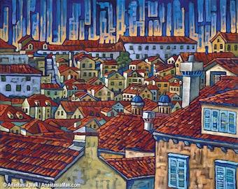 Dubrovnik Roofs, Croatia 5x7 Art Print by Anastasia Mak