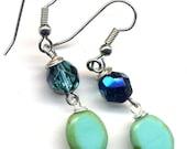 Turquoise Treasure Earrings, Czech Glass Earrings, Handmade Jewelry by AnnaArt72
