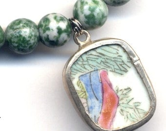 Antique Porcelain Pendant On Tree Agate Necklace,  Ceramic Pendant, Handmade Porcelain Jewelry by AnnaArt72