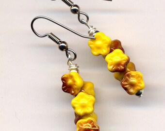 Floral Earrings, Yellow and Cooper Earrings, Surgical Steel Earrings, Vintage Czech Glass Earrings , Handmade jewelry by AnnaArt72