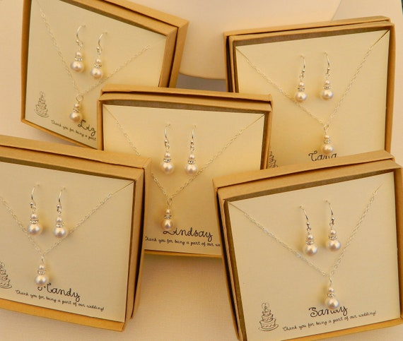 Set of 5 White Luxe Sets - White Swarovski Pearls on Sterling Silver Chain