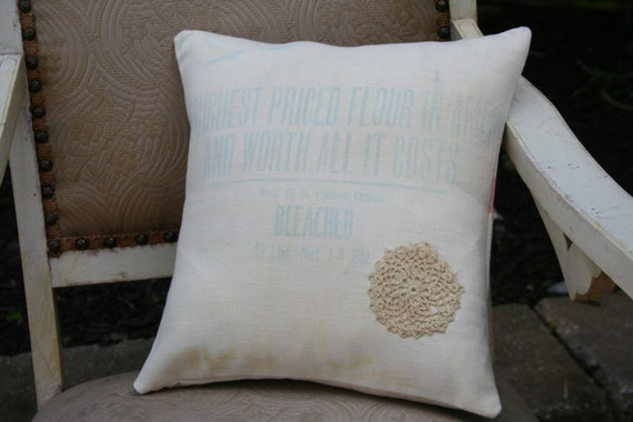 King Midas Flour FEEDSACK Pillow Cover with Vintage Lace