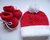 SALE Baby Set, Xmas Baby Set, Beanie and Booties, 3 to 6 Months, Baby Shower Gift, Baby Accessories, Newborn Accessories.