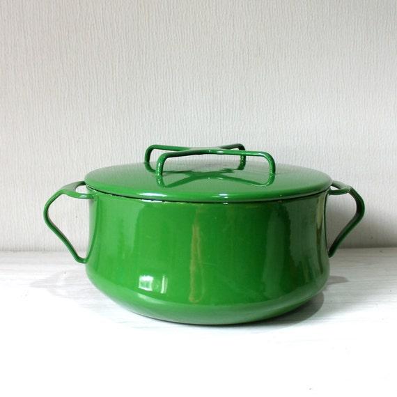 Vintage Dansk France Green Enamel Pot with Lid Mid Century