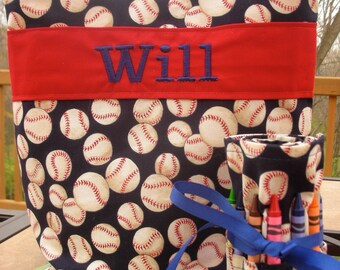 Baseball, Red Sox, Kids Tote with Crayon Roll