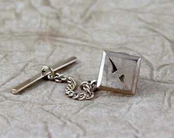 Vintage Anson Tie Tack Pin - Gold Tone Finish - Square Scroll Pattern - Formal Wear Accessory