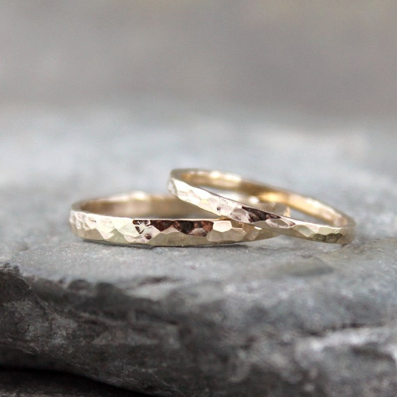 His and Hers 14K Yellow Gold Filled Wedding Bands  - Men's and Ladies Band - Textured Wedding Bands - Friendship Rings