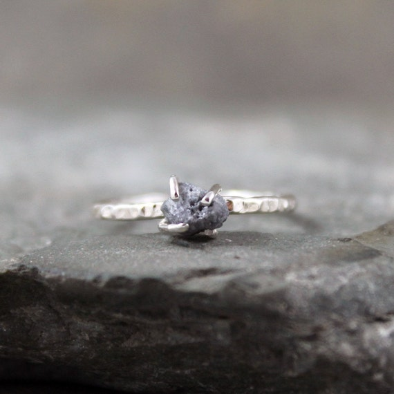 Uncut Rough Diamond Solitaire Engagement Ring  -   Sterling Silver Artisan Jewellery - Handmade and Designed by A Second Time