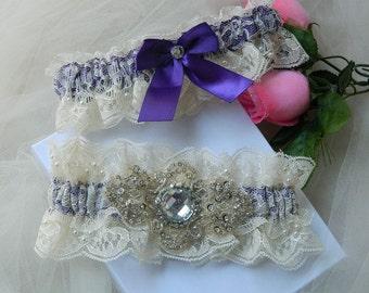 Wedding Garter Set, Bridal Garter, Purple Bridal Garter, Purple Wedding